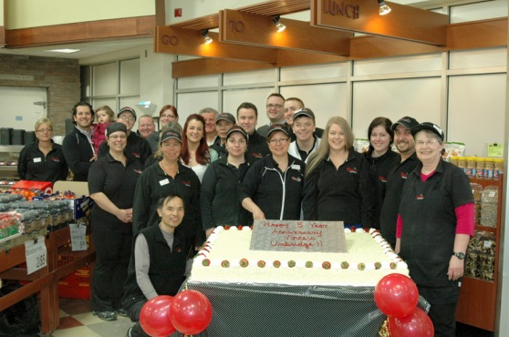 The Vince's Market Uxbridge team celebrates their 5 year anniversary.